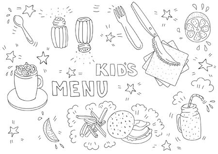 Black and white illustration for kids menu with burger, french fries, lemon, cocoa, smoothies in doodle style. Page of a childrens coloring book. Blank A3 horizontal format
