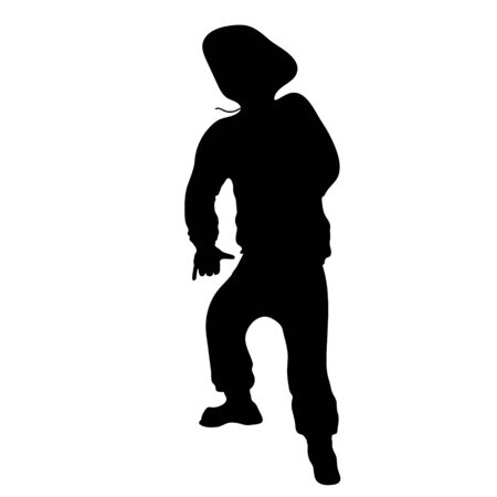 The silhouette of rapper on white background. Stylish athletic young man in dance pose. Black and white stock vector illustration Иллюстрация