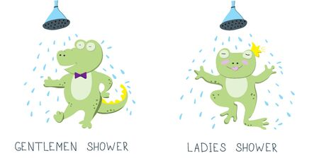 Flat illustration with characters. Cute green frog and crocodile is taking a shower and having fun on white background. The Restroom Symbols