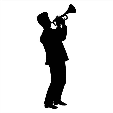 Vector Illustration of man silhouette playing the trumpet in the style of the 1920s. Handsome young european jazz musician dressed in an elegant tuxedo. Character isolated on a white background Иллюстрация