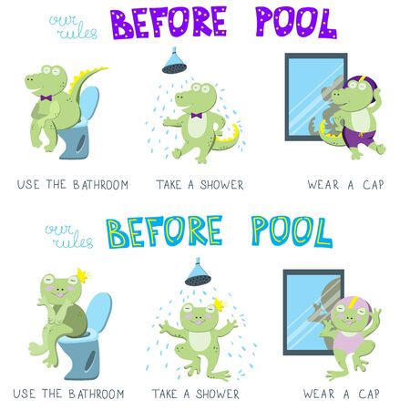 Set of concepts with character. Simple rules for children before swimming pool: use the bathroom, take a shower, wear a cap. Correct behavior is illustrated by cute green crocodile and funny frog
