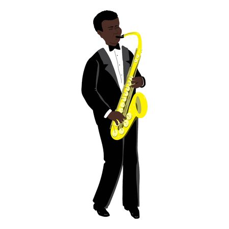 Vector Illustration of black man playing the saxophone  in the style of the 1920s. Handsome young jazz man. Character in flat style, isolated on a white background Ilustrace