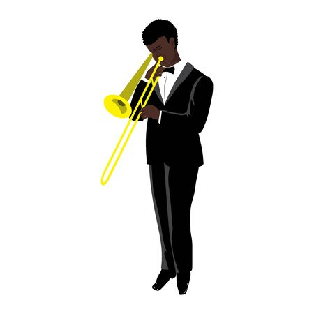 Vector Illustration of black man playing the trombone in the style of the 1920s. Handsome young jazz musician dressed in an elegant tuxedo. Character in flat style, isolated on a white background Ilustrace