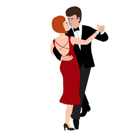 Vector Illustration of man and woman in waltz pose in the style of the 1920s. Beautiful young european couple. Character in flat style, isolated on a white background Illustration