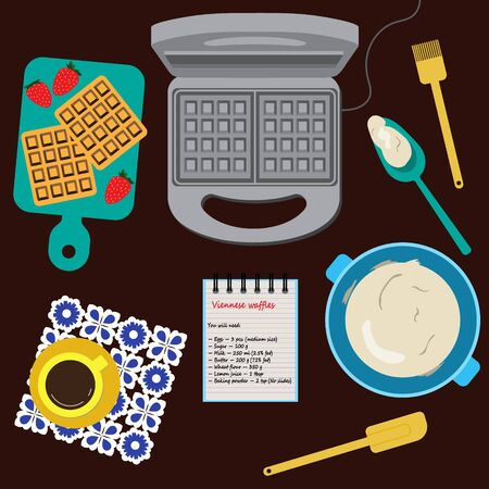 Still-life of kitchen table with waffle-iron, waffle,  dough, cup of coffee and some kitchen stuff. Colored flat lay illustration about home baking.