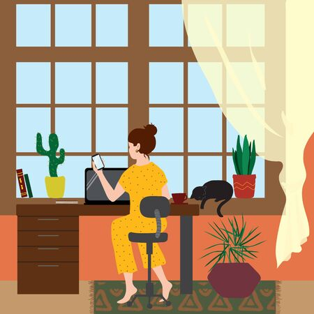 A woman in pajamas sits at a table and works remotely or studies in a cozy home environment. Flat illustration concept about freelancing or self- isolation during a pandemic. Vektorgrafik