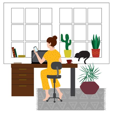 A woman in pajamas sits at a table and works remotely or studies in a cozy home environment. Flat illustration concept on white background about freelancing or self- isolation during a pandemic.