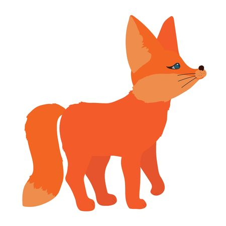 Cute little red fox stands and looks to something. Isolated character on a white background in flat style. For printing kids posters, cards. Can be used as mascot