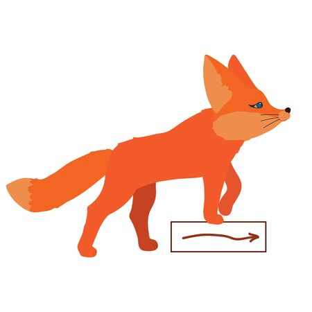 Cute little red fox goes on her hunt, gets a scent. Isolated character on a white background in flat style. Template with copyspace for website, social media. Can be used as mascot