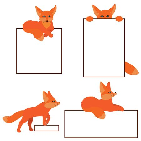 Cute little red foxes stands and looks to something, sleeps, seats. Set with isolated character on a white background in flat style. Template with copy space for website, social media