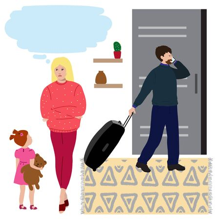 Man packs suitcase and leaves family, woman with child is stressful. Flat illustration concept for  family law attorney advises in divorce cases.Template with copy space for website, social media