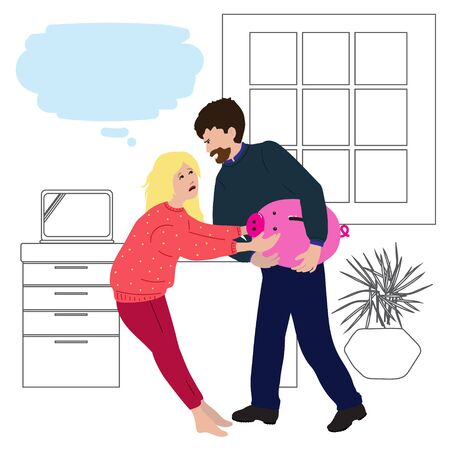 Couple argue over the piggy bank. Flat illustration concept for family law attorney advises in divorce cases, property division. Template with copy space for website, social media Vector Illustration