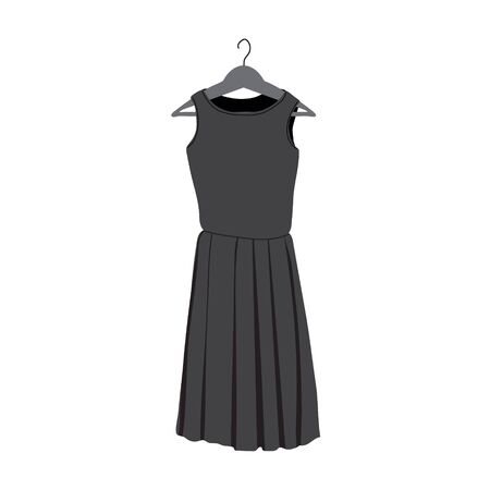 Dress on hanger in grayscale in flat style. Simple modern black summer dress with short skirt, without sleeves. It can be used as icon or design element. 일러스트