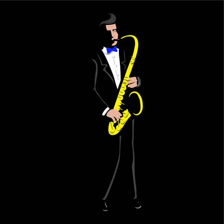 Vector Illustration of a playing saxophone man. Handsome young european jazz musician performs in the dark. Character in flat style on black background Stock Illustratie