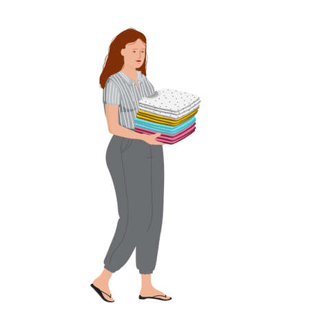 Woman holding a stacked of clothes. Colored  stock illustration with character in flat style on white background