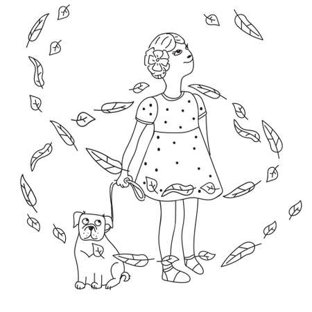 Kids cartoon illustration with girl and dog in leaves fall. Page of a children's coloring book. Cute autumn caracters