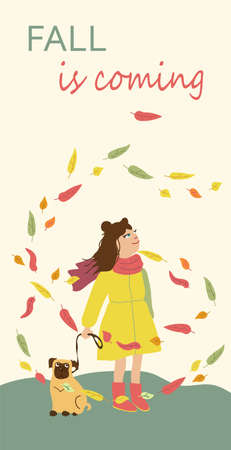 Kids cartoon illustration with girl and dog in leaves fall. Fall is coming. Post card with text. Cute autumn characters Çizim