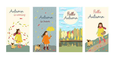 Set of the post cards with text. Kids cartoon illustration with girl and dog going for mushrooms, walking in the rain, admiring the leaves fall. Hello Autumn. Cute characters in flat style