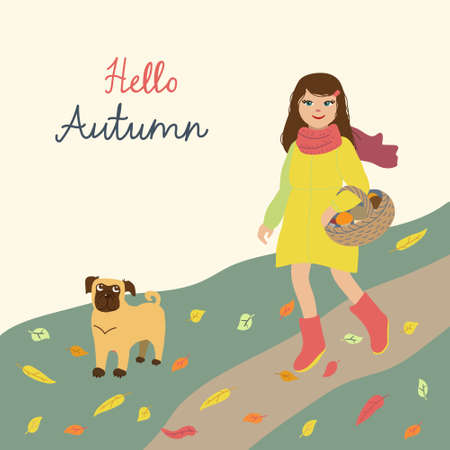 Kids cartoon illustration with girl and dog going for mushrooms. Hello Autumn. Post card with text in square format. Cute characters in flat style