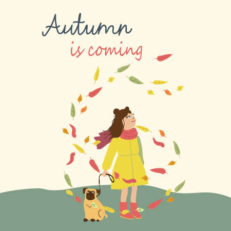 Kids cartoon illustration with girl and dog in leaves fall. Fall is coming. Post card with text in square format. Cute autumn characters in flat style