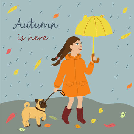 Kids cartoon illustration with girl and dog walking in the rain. Autumn is here. Post card with text in square format. Cute characters in flat style