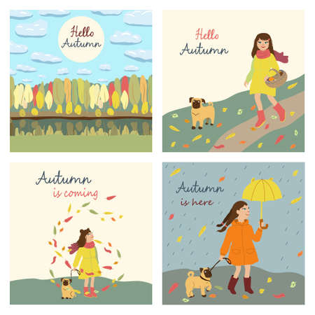 Set of the post cards with text in square. Kids cartoon illustration with girl and dog going for mushrooms, walking in the rain, admiring the leaves fall. Hello Autumn. Cute characters in flat style Çizim