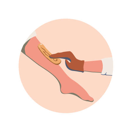 Women's leg and gloved hand - the process of removing hair from shin using sugar paste. Vector emblem in a circle in nice natural colors. It can be used as icon or design element for beauty and SPA site, blogs of depilation master, cosmetologist