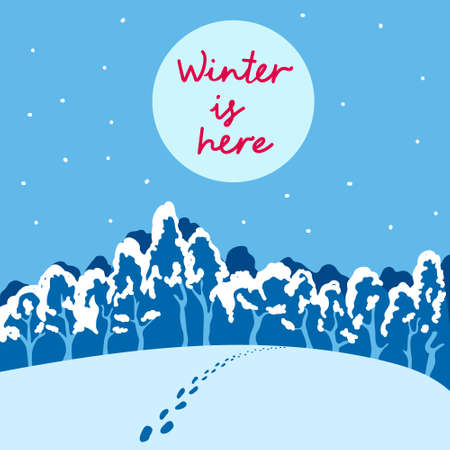 Beautiful landscape with snow-covered forest and glade. Silence and peace and someone's footprints in the snow. Winter is here. Post card with text in square format in flat style