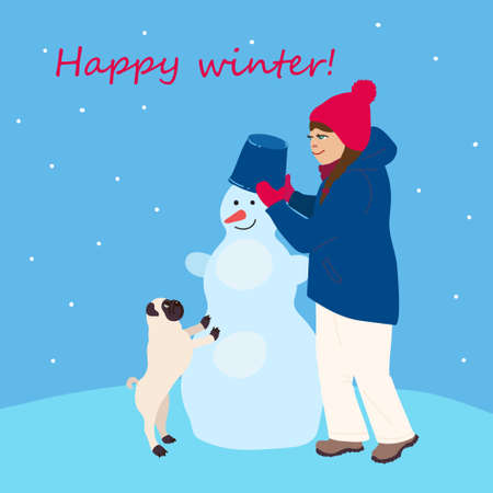 Kids cartoon illustration with cute winter characters in flat style. Girl with a dog make snowman. Happy winter. Post card with text in square format. 向量圖像