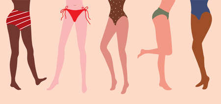 Woman legs and thighs in swimsuits. Vector illustration in nice natural colors. It can be used as banner for beauty and SPA site, blogs of depilation master, cosmetologist Vetores