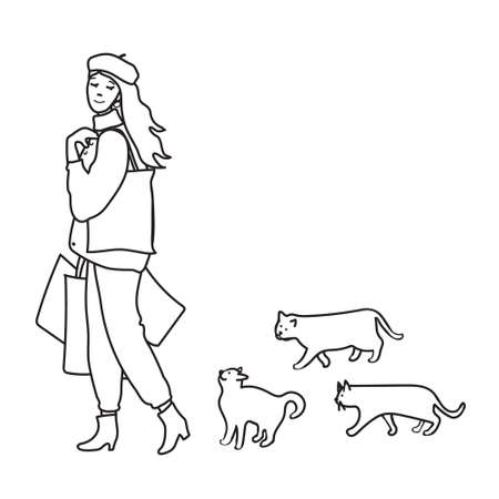 Kids cartoon illustration with сute characters. Girl goes from shopping and cats run after her. Page of coloring book. Иллюстрация