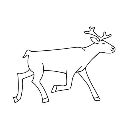 Kids cartoon illustration with running deer. Page of a children's coloring book, Christmas and New Year minimalistic art 矢量图像