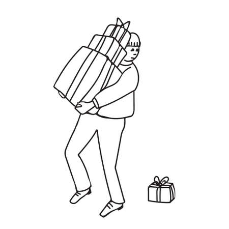 Kids cartoon illustration with man carrying gift boxes, one of them is dropped down. Page of coloring book.