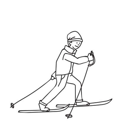 Kids cartoon illustration withboy on cross-country skis. Page of coloring book, Christmas and New Year minimalistic art