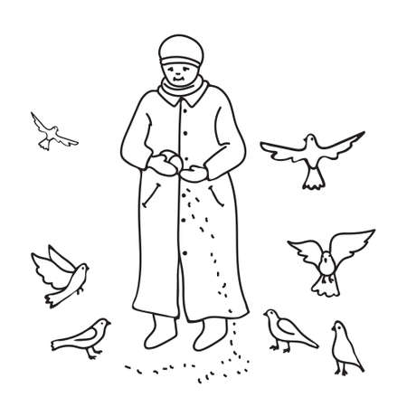 Kids cartoon illustration with kind elderly woman feeding pigeons. Page of coloring book.