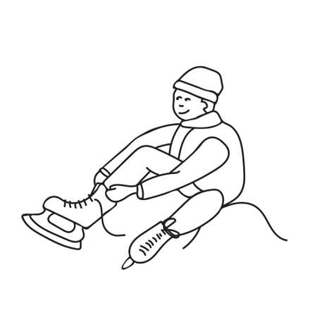 Kids cartoon illustration with boy putting on skates. Page of coloring book, Christmas and New Year minimalistic art
