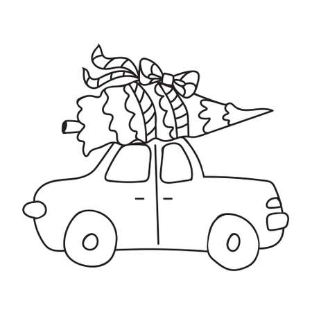 Kids cartoon illustration with car carrying a Christmas tree. Page of coloring book, Christmas and New Year minimalistic art