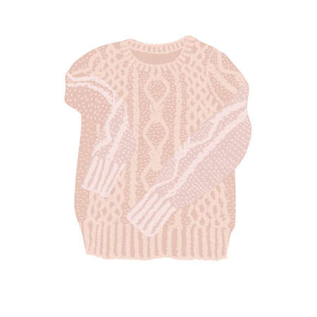 Illustration of sweatshirt in flat lay style. Knitted modern clothes in nice warm color with binding texture. It can be used as icon or design element.