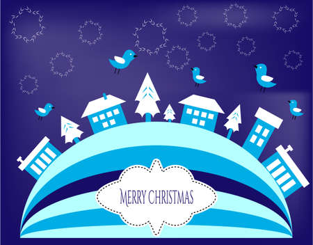 Blue Christmas greeting cards with flake, houses, birds Vector