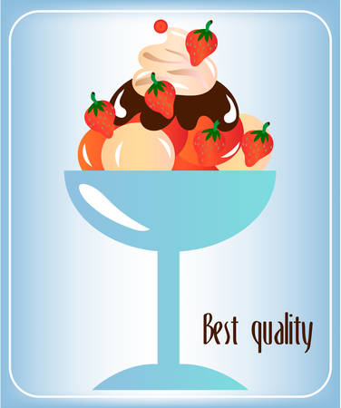 topping: Sundae with whipped cream, strawberries and topping