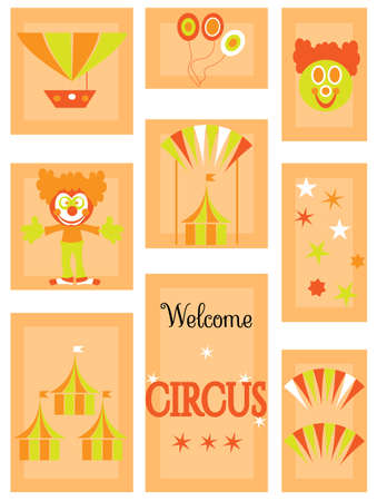 nouse: The circus - icon set with clowns and tents