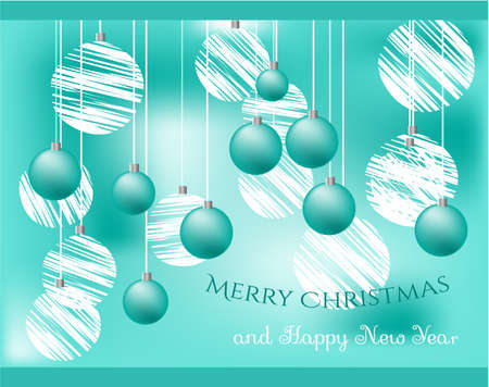 Blue Christmas card with blue and white bulbs Vector