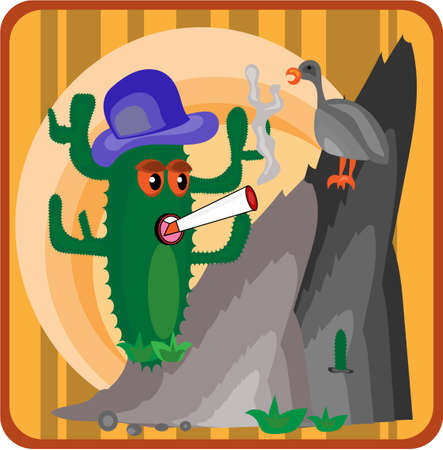 Cactus growing on a cliff with a blue hat Vector