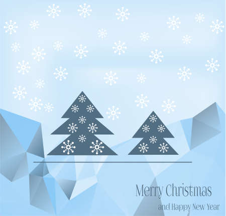 Blue Christmas card with blue trees and white flakes Vector