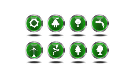 renewables: Set of 10  green icons - ecology