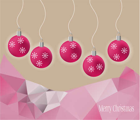 mountin: Light christmas card with five pink bulbs Illustration