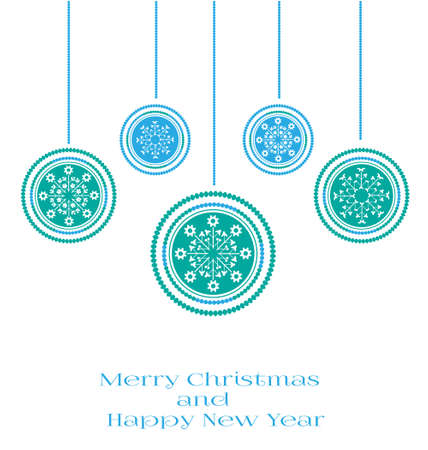 Blue Christmas card with blue and white bulbs Illustration