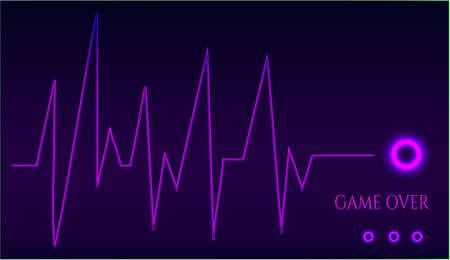 renuncia: Game over - gr�fico ekg - sobre fondo oscuro