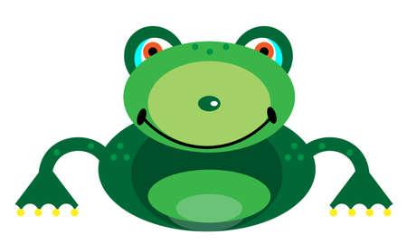 smiling frog: Imagen de una rana sonriente sobre un fondo blanco