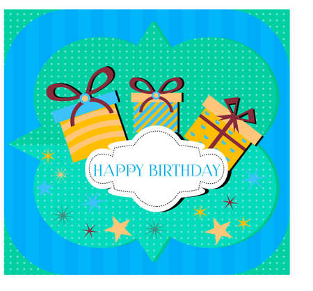 Birthday card with three gifts on blue and green background Vector